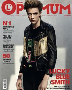 Returning to his brunette roots, Lucky Blue Smith covers the February 2016 issue of L'Optimum Thailand. Photographed by Conan Thai, Lucky covers the magazine in… King Fashion, Fashion Mag, Lucky B Smith, Rock And Rool, Cover Guy, Lucky Blue, Shades Of Gold, Spring Looks, Moda Masculina