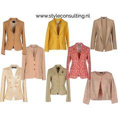 Blazers in kleuren voor het lentetype, zomertype, herfsttype en wintertype.   Style Consulting Camel Blazer, Warm Spring, Spring Colors, Blazers, Autumn Fashion, Blouses, Belts, Outfits, Type