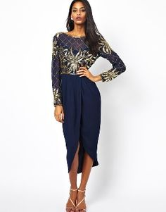 5770de4c053063 Virgos Lounge Scarlette Embellished Long Sleeve Midi Dress in Navy UK 36 in  Clothes