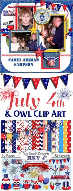 July 4 Clip Art Digital Scrapbook Kit in Red, White & Blue Owls, America, Flag,  Fireworks, Patriotic, 4th of July, BBQ, Sparklers,