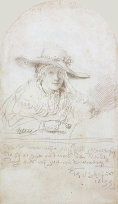 Chapter Rembrandt, Portrait of Saskia van Uylenburgh, Silverpoint on… History Of Drawing, Art History, Rembrandt Drawings, Rembrandt Portrait, Drawing Sketches, Art Drawings, Silverpoint, Dutch Painters, Dutch Artists