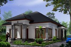Modern minimalist home design 1 floor - The house is a person's basic needs to be used as a residence. Unique House Design, Tiny House Design, Home Building Design, Building A House, Style Bali, One Storey House, Modern Minimalist House, Model House Plan, Bungalow House Design
