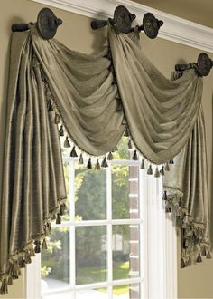 Curtains are dressy window coverings that can alter the appearance and do wonders for rooms in a home. It can make a room look more spacious or compac. Hang Curtains Like A Pro, Swag Curtains, Home Curtains, Hanging Curtains, Kitchen Curtains, Window Curtains, Tuscan Curtains, Fancy Curtains, Decorative Curtains