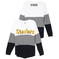 PINK Pittsburgh Steelers Varsity Crew ($70) ❤ liked on Polyvore featuring tops, t-shirts, yellow, oversized tee, pink tee, crew tee, white tops e white crew t shirt