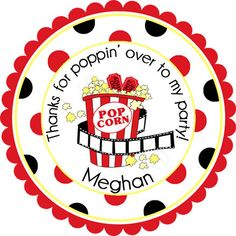 Night At The Movies Popcorn Personalized Stickers  by partyINK, $6.00
