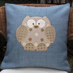 Owl cushion - Blue with gold applique owl £12.00