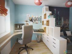Дизайн комнаты подростка, кабинет на балконе