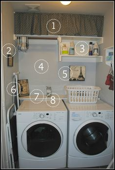 Shelf behind washer and dryer.   Six Cents