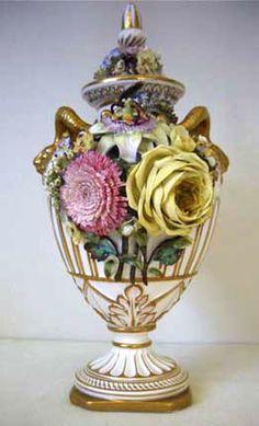 """antique 19th century British porcelain Bevington vase, """"Dresden"""" style flowers"""