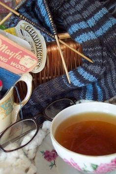 Knitting Socks Tea Cup   5x7 Fine Art Photographic Print Knitting and Tea Series Brown Blue Warm Cozy. $ 7.00, via Etsy.