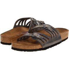 Birkenstock Granada Soft Footbed Women's Sandals, Gray ($71) ❤ liked on Polyvore featuring shoes, sandals, grey, strap sandals, birkenstock shoes, cork shoes, special occasion shoes e narrow sandals