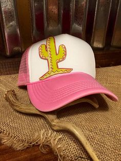 deb2fa13294 Items similar to Cactus leather patch trucker hat on Etsy