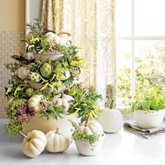 Tabletop White Pumpkin Topiary - really cool looking but way too much work for a centerpiece that doesn't last long