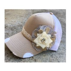 Burlap flower trucker hat with lace detail and a touch of bling Custom Made Hats, Burlap Flowers, Lace Detail, Shabby Chic, Bling, Craft Ideas, Touch, Crafts, Etsy