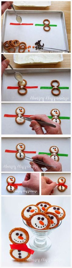 Frosty Snowman Pretzels -- adorable, and a great opportunity to make something in the kitchen with your kids!