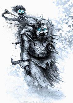O inverno chegou - Game of Thrones encontra The Walking Dead nas ilustrações de Austen Mengler