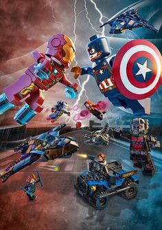 There's a rift between former Avengers allies Captain America and Iron Man! Bring the battle to life in your living room with new LEGO Marvel Super Heroes play sets Marvel Vs Dc Comics, Marvel Heroes, Lego Dc, Marvel Fanart, Marvel Universe, Lego Iron Man, Super Hero Shirts, Lego Pictures, Lego Marvel's Avengers