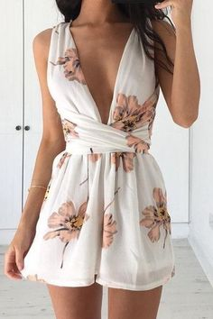 #summer #outfits / wrap floral romper