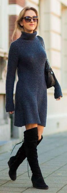Dark Grey Turtleneck Sweater Dress