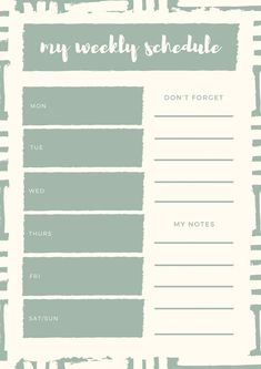 Use this customizable Green Brushstrokes Weekly Schedule Planner template and find more professional designs from Canva. Weekly Schedule Planner, Hourly Planner, Day Planners, Planner Template, Sample Resume, Templates, Calendar 2018, Green, Bullet Journal