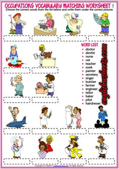 Jobs Occupations Professions Esl Printable Matching Exercise Worksheets For Kids Learning English For Kids, English Worksheets For Kids, Kids English, English Lessons, Teaching English, Learn English, Vocabulary Worksheets, Printable Worksheets, English Vocabulary