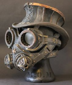 Steampunk mask Hat,Goggles and Respirator mask.for the well - dressed gent in the factory district.
