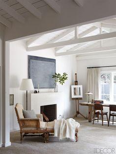 Neutral living room in Ellen + Portia's Equestrian Estate via Elle Decor