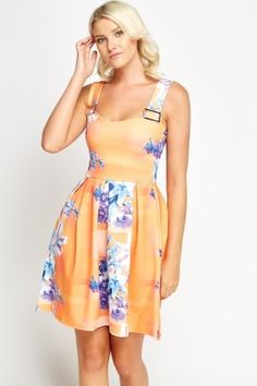 Orange Floral Buckle Strap Skater Dress How cute is this dress?