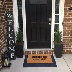 Front Door Decor Discover WELCOME SIGN RUSTIC Wood welcome sign front door welcome sign vertical welcome sign welcome sign porch large welcome sign home decor This amazing craftsman front doors is definitely a very inspiring and very good idea Decor, Door Decorations, Craftsman Front Doors, Front Porch Decorating, Welcome Signs Front Door, Door Planter, Front Door Entrance, Doors, Red Brick House