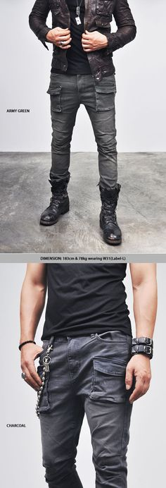 Bottoms :: Pants :: Vintage Oil Washed Slim Cargo (4Size)-Pants 40 - Mens Fashion Clothing For An Attractive Guy Look