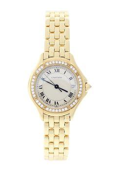 Vintage Cartier Women's Cougar 18K Yellow Gold Original Segmented Pave Diamond Bezel Watch on @HauteLook