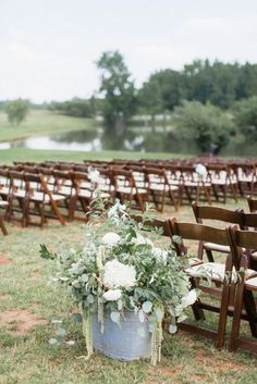 outdoor wedding cermeony, ceremony flower ideas | Featured on Southern Weddings | Adaumont Farm Wedding | Alisandra Photography
