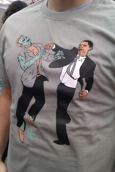 New Color Medium Obama Vs. Zombies Four Color Unisex Shirt Serene Green - Use the code WEAREDOOMED for 15% off.. $20.00, via Etsy.