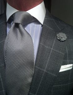 WIWT Grey Windowpane Suit by Suitsupply, Shirt and Tie by Reuben Alexander & Boutonière by hook + ALBERT