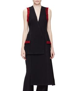 Sleeveless+Needle-Punch+Vest,+Black+by+Proenza+Schouler+at+Neiman+Marcus.