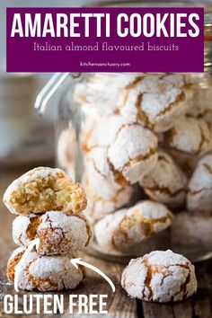These Chewy Amaretti Cookies are a classic Italian almond flavored biscuit that is gluten free. These cookies are a great addition to your holiday baking. Amaretti Cookies, Chocolate Chip Shortbread Cookies, Toffee Cookies, Almond Cookies, Easy Cookie Recipes, Easy Desserts, Delicious Desserts, Dessert Recipes, Italian Desserts