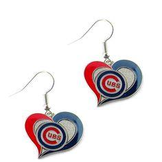 Chicago Cubs Women's Swirl Heart Earings
