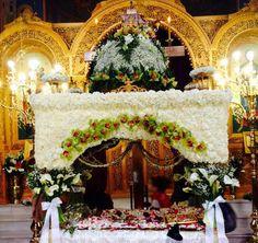 Crucifixion Of Jesus, Wedding Decorations, Table Decorations, Altar, White Flowers, Christmas Tree, Holiday Decor, Friday, Needlepoint