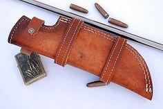 Custom Handmade Horizontal Left Hand Tracker Knife Leather Sheath Brown S4
