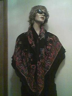 Womens Vintage Large Square Silk Scarf with Fringed by hollister54, $8.95
