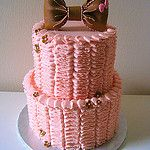 Pink Ruffles Baby Shower cake by IcingDreams