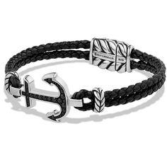 David Yurman Pave Black Diamond Anchor Bracelet ($940) ❤ liked on Polyvore featuring men's fashion, men's jewelry, men's bracelets, bracelets, apparel & accessories, mens anchor bracelets and david yurman mens bracelets
