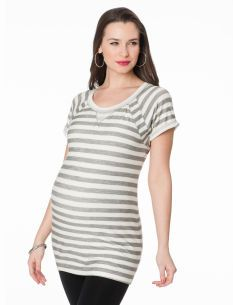 Short Sleeve Scoop Neck Raglan Sleeve Maternity Tunic