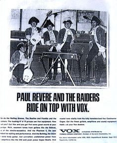Paul Revere and the Raider Vox advertisement, circa 1965