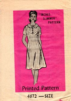 1970s Womens Dress Pattern - Vintage Anne Adams Mail Order 4672 - Bust 44 UNCUT