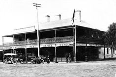 """This historical picture features the old """"Post Office Hotel"""", now the Cobb and Co Court Boutique Hotel. The original wrap around verandah is visible, unfortunately the local council decided to modernise and had the verandah removed. Post Office Hotel, Old Post Office, Historical Pictures, The Locals, Old Things, Louvre, Street View, Boutique, The Originals"""