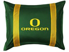 Oregon Ducks NCAA Sports Coverage Team Color Standard Sidelines Sham #SportsCoverage