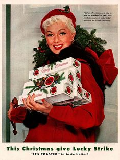 Give your loved ones cigarettes for Christmas. :-O Vintage Christmas Magazine Ad ~ Ann Sothern ~ Lucky Strike Cigarettes Creative Advertising, Retro Advertising, Retro Ads, Celebrity Advertising, Retro Christmas, Vintage Holiday, Christmas Shopping, Christmas Gifts, Christmas Images