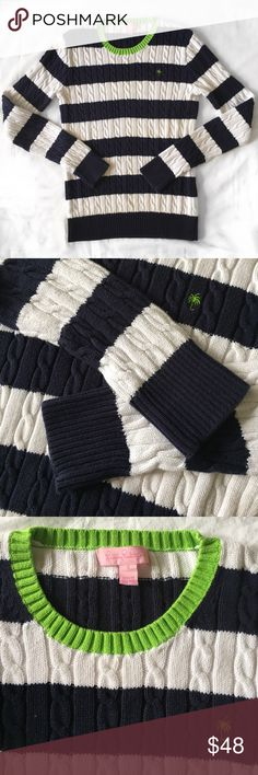 🌴 Lilly Pulitzer Navy Striped Cable Knit Sweater Super cute sweater by Lilly Pulitzer! Excellent condition. Features cable knit cotton with an adorable stitched palm tree. 100% cotton. Comment if you have any questions! Lilly Pulitzer Sweaters Crew & Scoop Necks