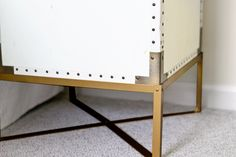 Pottery Barn Ludlow Trunk Knock-Off//how to make a metal base to raise a table Furniture Legs, Table Furniture, Home Furniture, How To Make Metal, Diy Nightstand, Make A Table, Table Height, My Living Room, Industrial Furniture